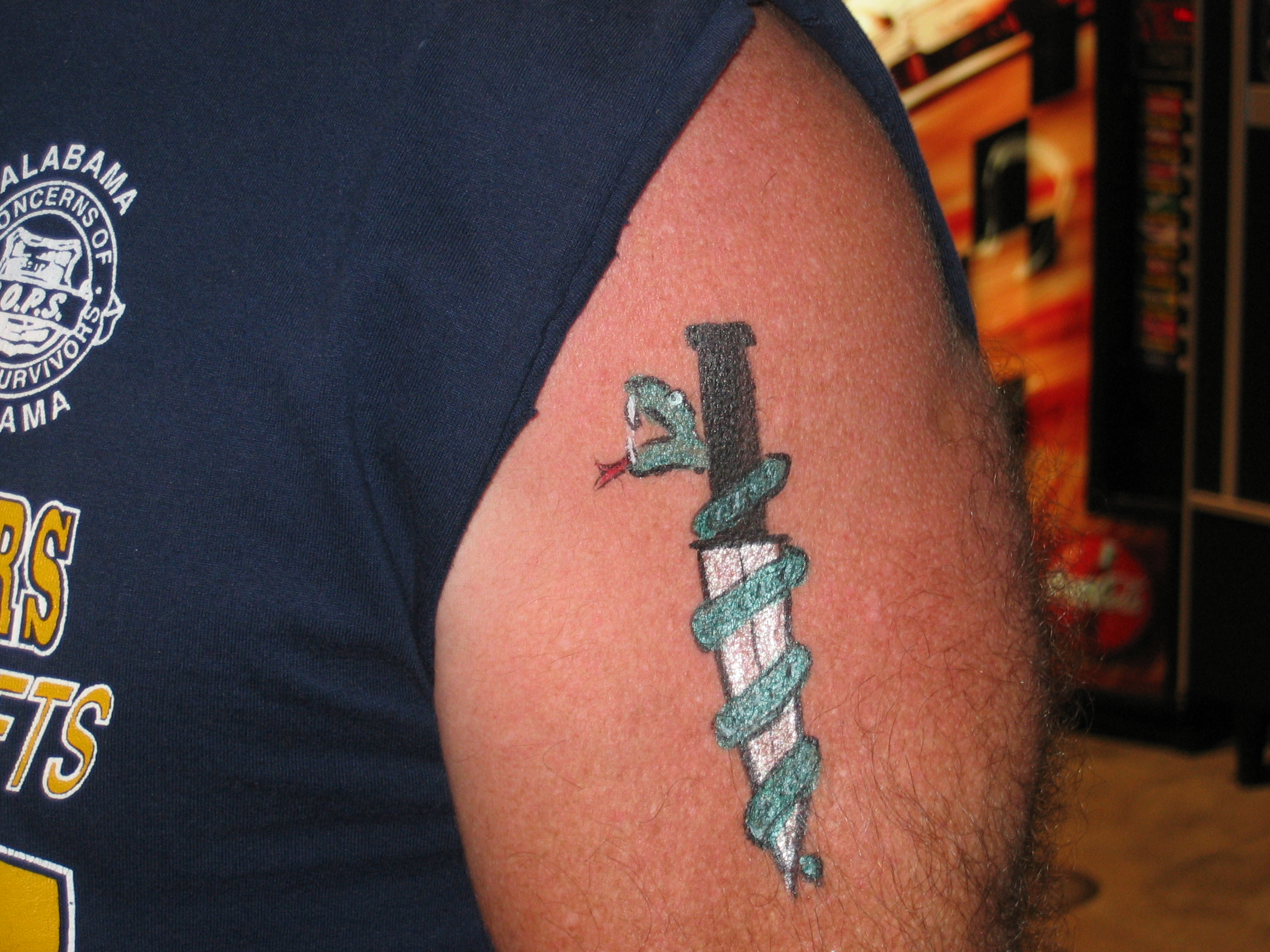 dagger and snake temporary tattoo